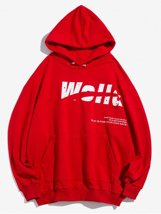 fashion Letter Print Casual Pocket Hoodie - RED 3XL