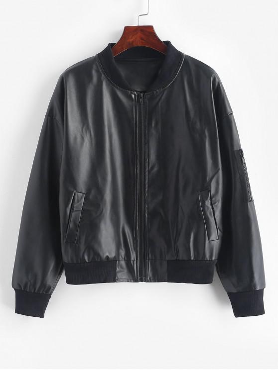 Cuoio cerniera manica tasche della giacca Bomber - Nero Taglia unica