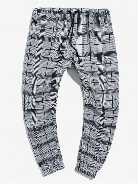 Imprimir a cuadros secundarios de rayas con cordón basculador Pantalones - Negro 2XL