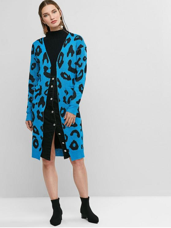 trendy Leopard Pocket Drop Shoulder Cardigan - OCEAN BLUE S