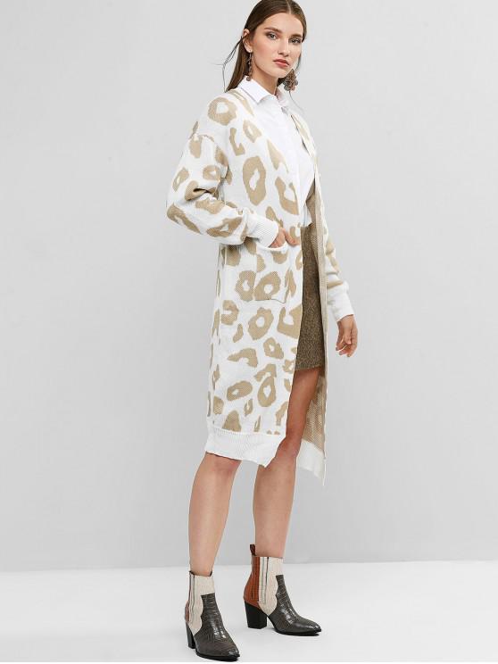 women Leopard Pocket Drop Shoulder Cardigan - WHITE L