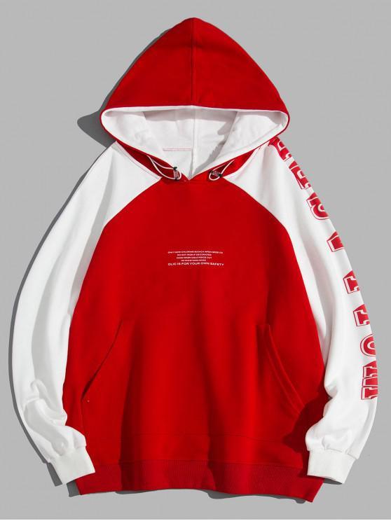 Carta gráfica impresa con capucha de bolsillo - Rojo XL