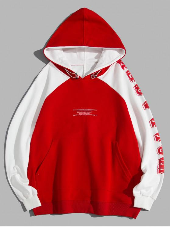 Carta gráfica impresa con capucha de bolsillo - Rojo 4XL