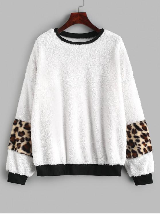 outfits Ribbed Trim Leopard Faux Fur Fluffy Sweatshirt - WHITE M