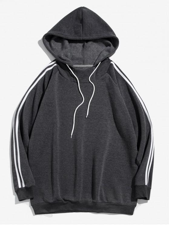 sale Contrast Striped Raglan Sleeve Fleece Hoodie - GRAY S