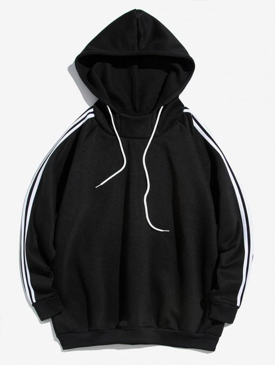 womens Contrast Striped Raglan Sleeve Fleece Hoodie - BLACK L