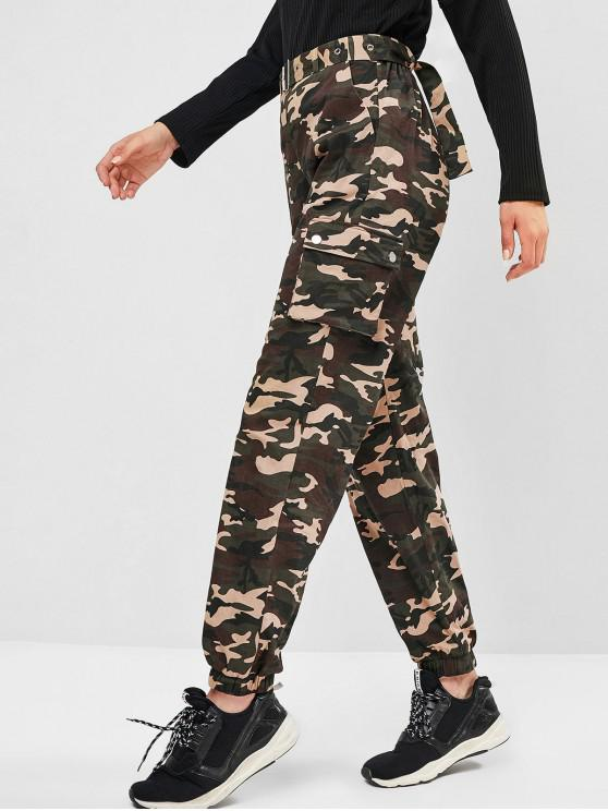 shop ZAFUL Belted Camo Jogger Pants - MULTI-A S