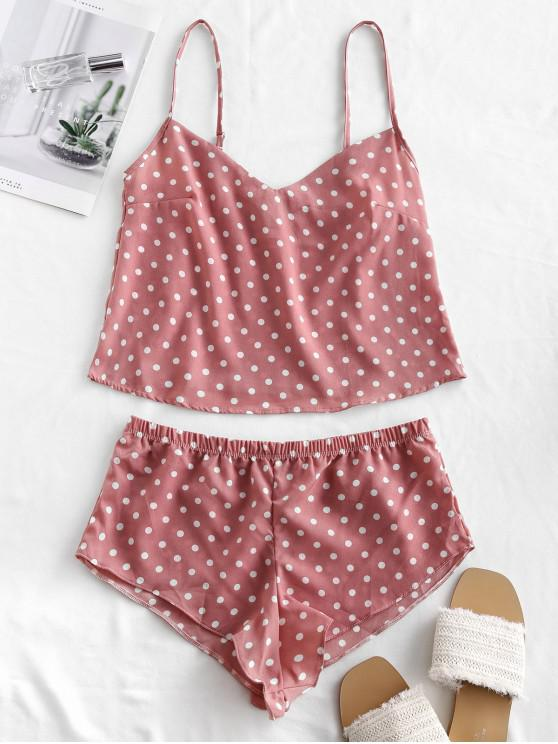 women Polka Dot Crop Pajama Set - LIPSTICK PINK XL