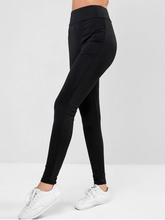 outfits ZAFUL Criss Cross Solid High Waist Leggings - BLACK M