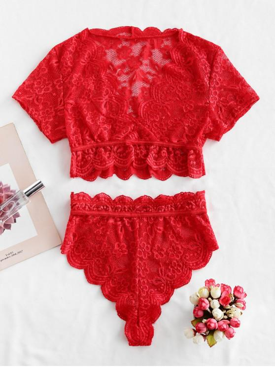 sale Solid Scalloped Edge Lace Lingerie Set - RED L