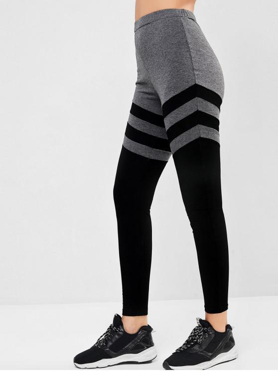 hot ZAFUL Marled Striped Leggings - BLACK XL