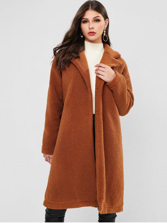 trendy ZAFUL Button Up Solid Lapel Teddy Coat - DARK GOLDENROD M
