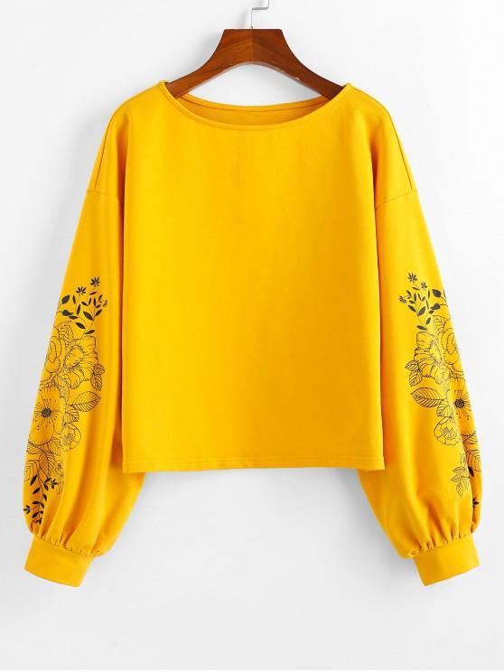 La camiseta de hombro de impresión de goteo ZAFUL flor - Caucho Ducky Amarillo L