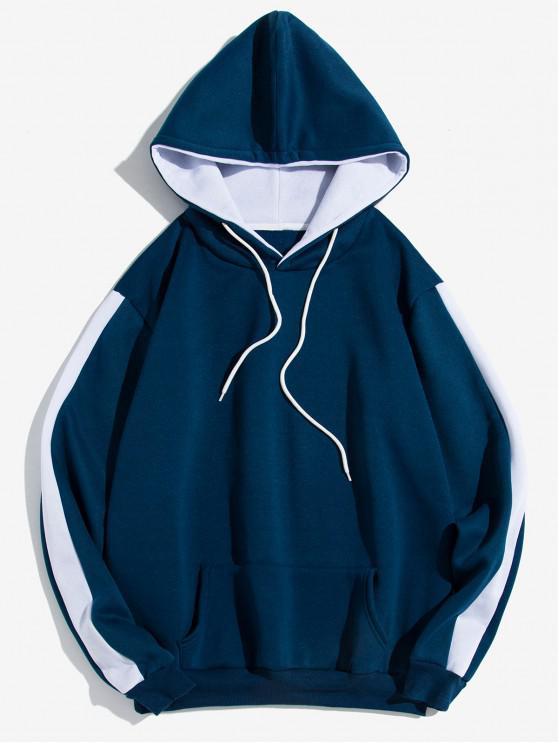 outfit Contrast Tape Sleeve Kangaroo Pocket Fleece Hoodie - BLUE M
