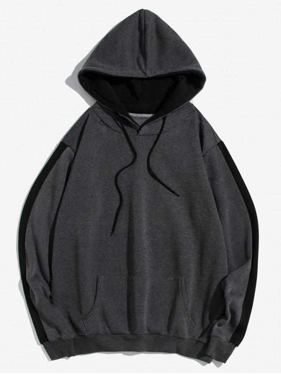 shop Contrast Tape Sleeve Kangaroo Pocket Fleece Hoodie - GRAY S
