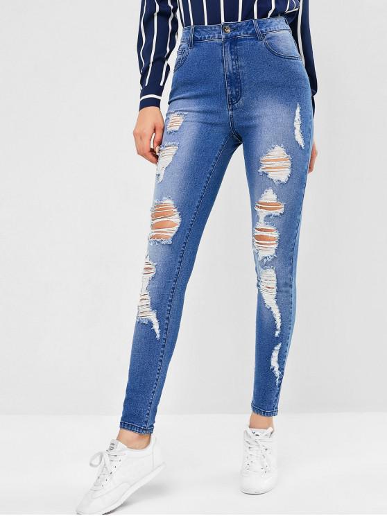 women's ZAFUL Ripped Skinny Jeans - JEANS BLUE L