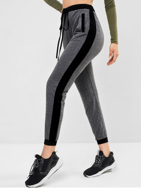 lady ZAFUL Contrast Sideseam Jogger Pants - GRAY CLOUD M