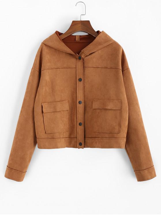 ZAFUL gamuza sintética con capucha gota de hombro Flap bolsillo de la chaqueta - Tigre Anaranjado S