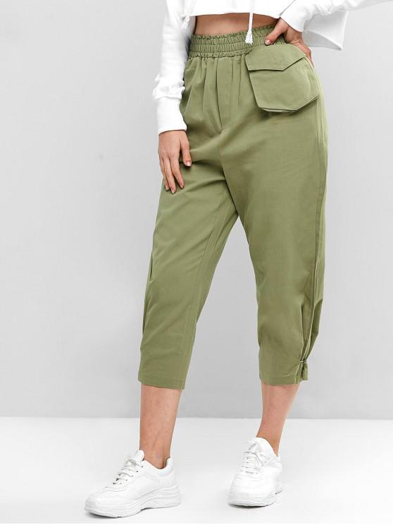 latest High Waist Solid Pants with Pockets - DARK SEA GREEN ONE SIZE