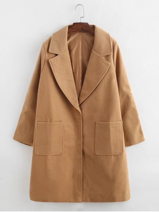 shops Turndown Collar Pocket Two Button Straight Long Coat - LIGHT BROWN 3XL