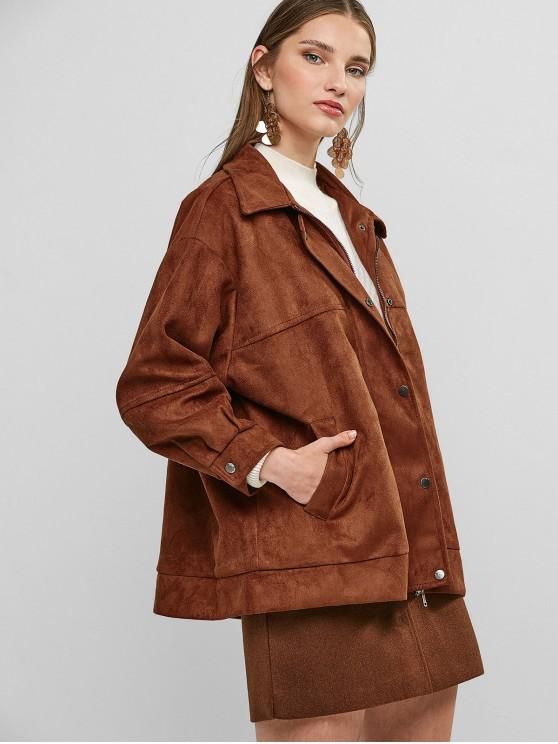 fancy Zip Up Faux Suede Coat with Pockets - BROWN ONE SIZE