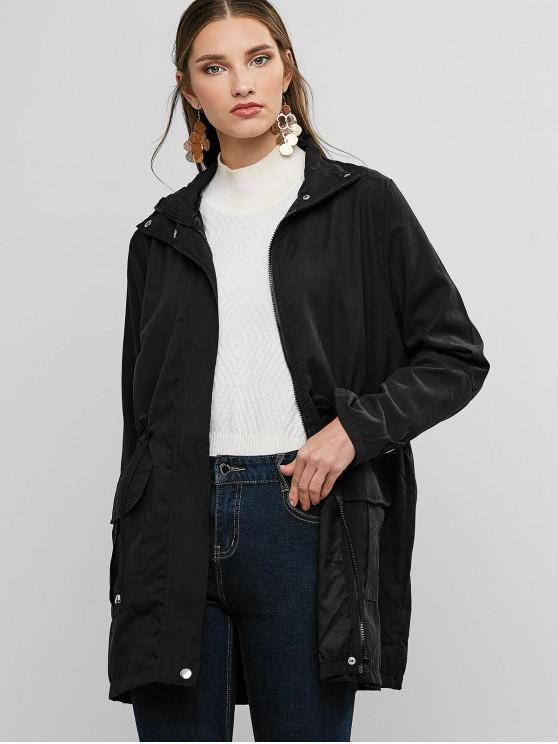 women Waist Drawstring Flap Pocket Coat - BLACK S