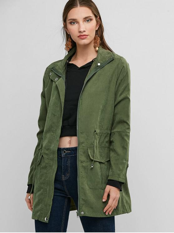 lady Waist Drawstring Flap Pocket Coat - CAMOUFLAGE GREEN L