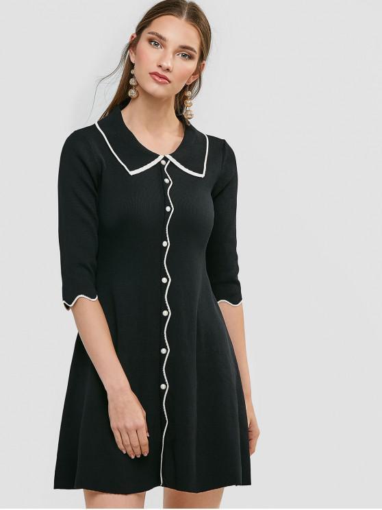 online Beading Scalloped Jumper Dress - BLACK ONE SIZE
