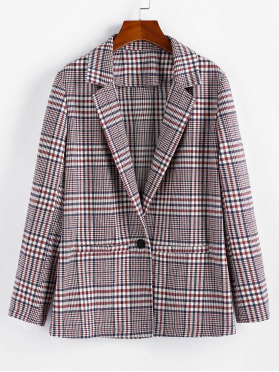ZAFUL tela escocesa de la solapa de un botón de la chaqueta palangre - Vino Tinto M