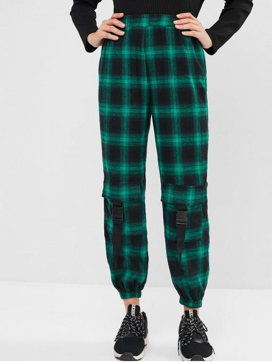 lady ZAFUL Flannel Plaid Buckled Jogger Pants - CLOVER GREEN XL
