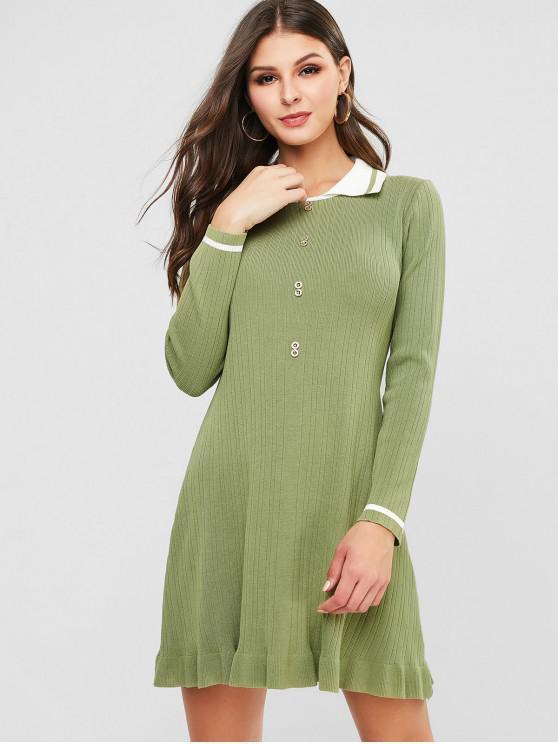 Umlegekragen A Line Knit Pullover Kleid - Grüne Zwiebel Eine Größe