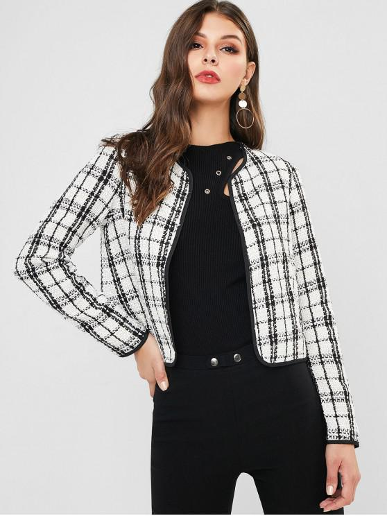 hot ZAFUL Plaid Two Tone Open Front Jacket - MULTI-A L