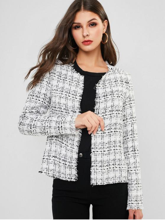 online ZAFUL Plaid Frayed Hem Open Front Jacket - MULTI-A L