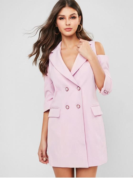 Открытые плечи Карман Длинный Блейзер - Розовый L