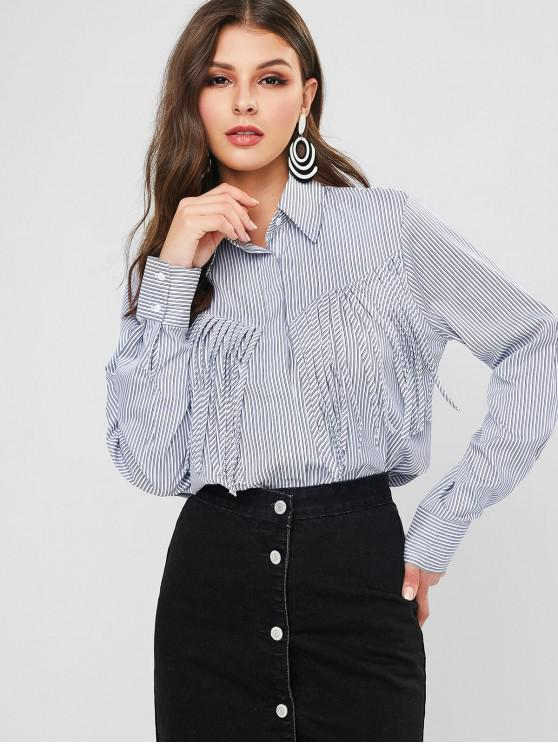 women's Striped Fringed High Low Shirt - MULTI-A S