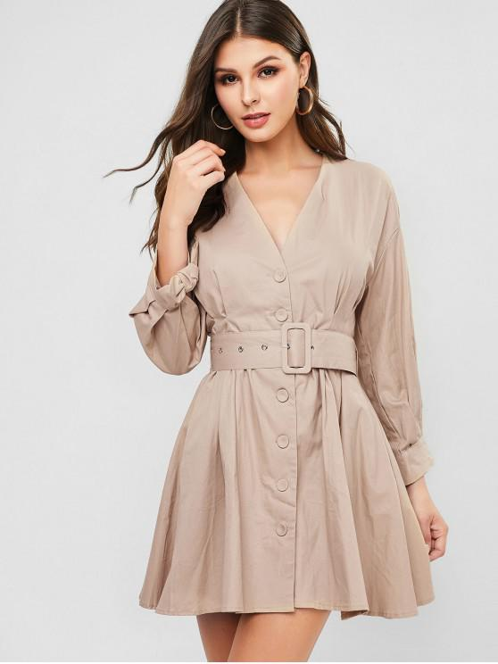 hot Plunging Button Up Belted Tie Cuffs Dress - LIGHT KHAKI L