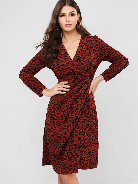 lady Leopard Surplice Slit Dress - BROWN L