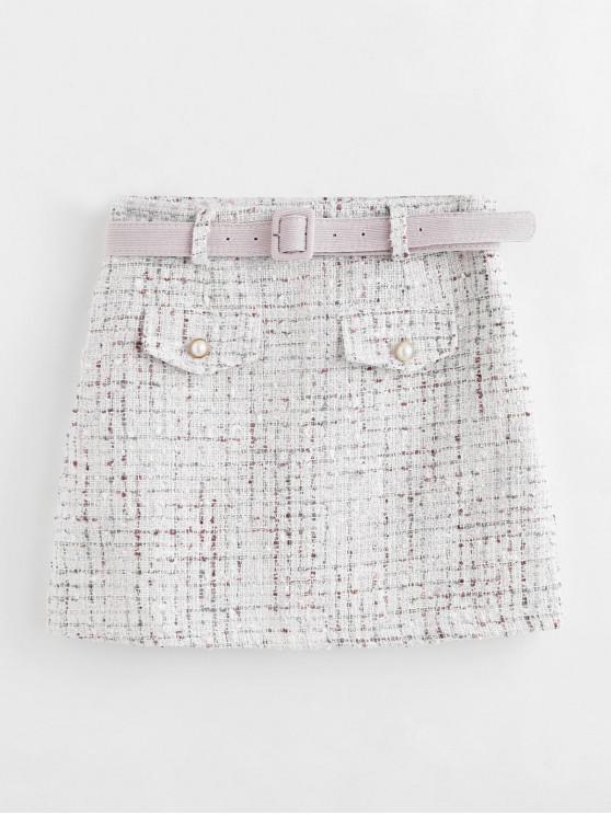new Tweed Lurex Beaded Mini Skirt with Belt - WHITE S