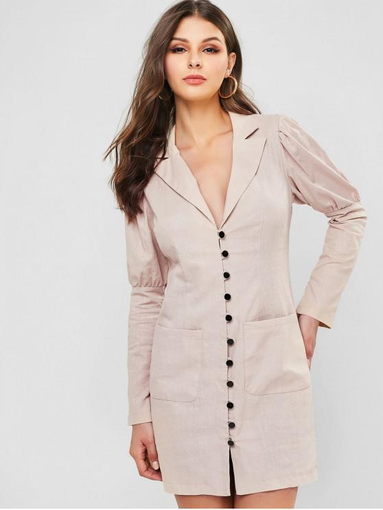 women's Lapel Button Up Pocket Dress - BEIGE L