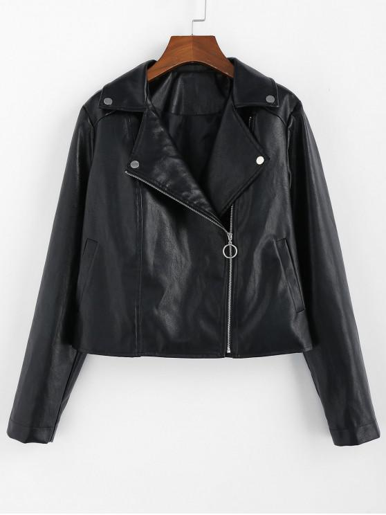 affordable ZAFUL Faux Leather Zip Pocket Biker Jacket - BLACK S