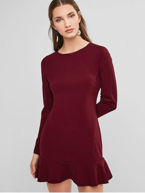 hot ZAFUL Flippy Hem Mini Sheath Dress - RED WINE XL