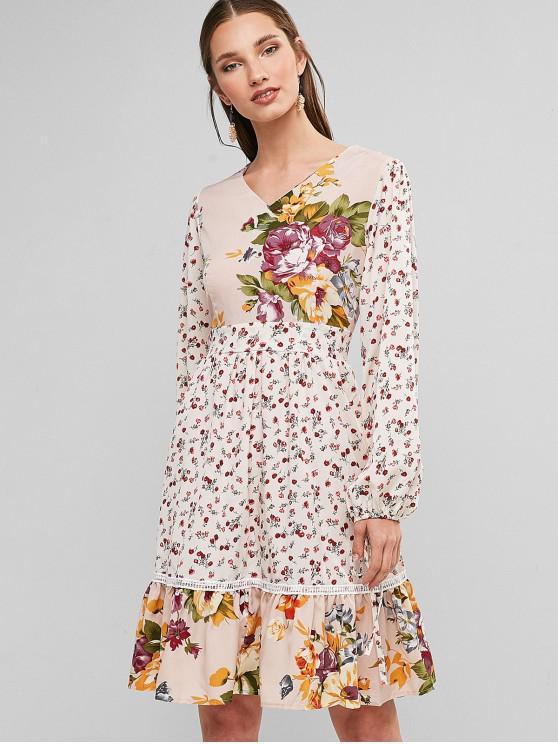 Luva longa da gravata Floral Um vestido de linha - Bege XL