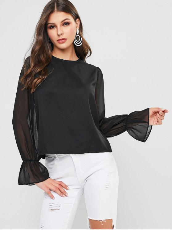 fashion ZAFUL Semi Sheer Chiffon Sleeve Blouse - BLACK M