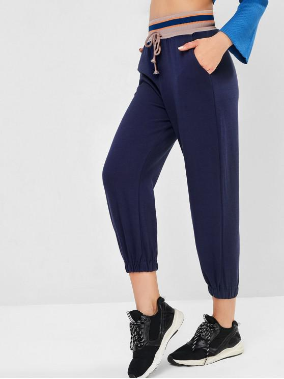 womens Rib-knit Waistband Drawstring Pocket Jogger Pants - DEEP BLUE S
