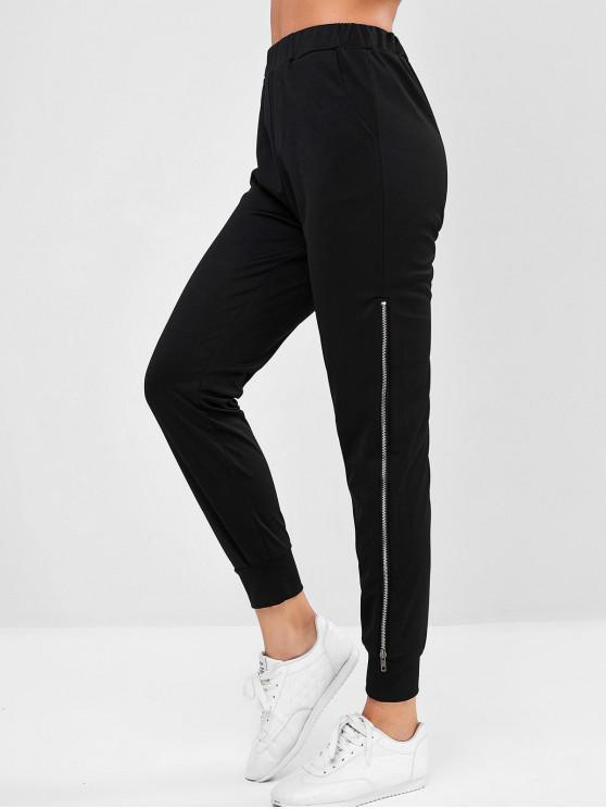 affordable Pocket Zipper Side Jogger Pants - BLACK S