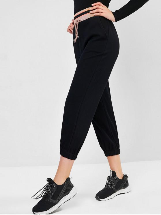 outfits Rib-knit Waistband Drawstring Pocket Jogger Pants - BLACK M