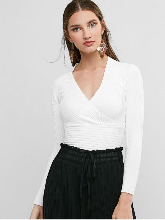 Sobrepelliz Sumérgete delgado suéter de punto acanalado - Blanco Única Talla