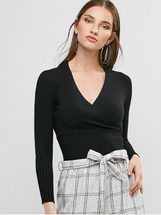 women's Surplice Plunge Slim Ribbed Knit Sweater - BLACK ONE SIZE