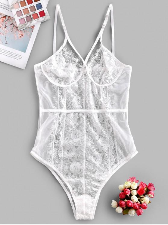 fancy Lace Panel See Through Mesh Teddy - WHITE M