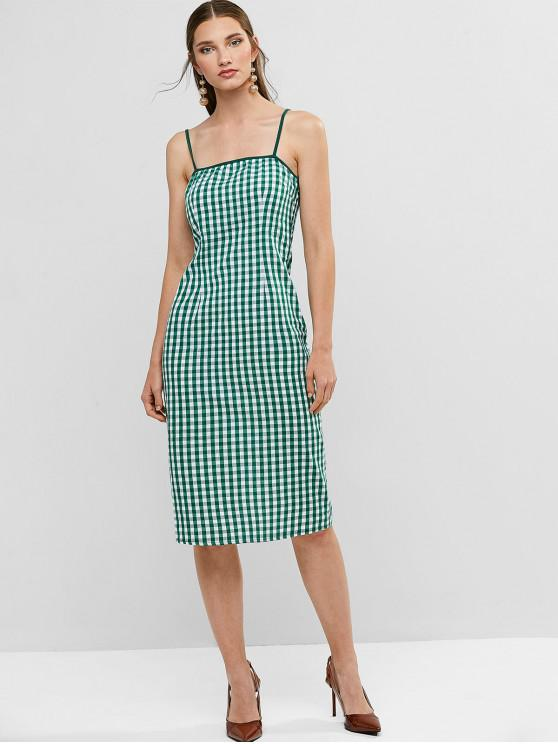 outfits Gingham Slit Cami Pencil Knee Length Dress - SEA GREEN M